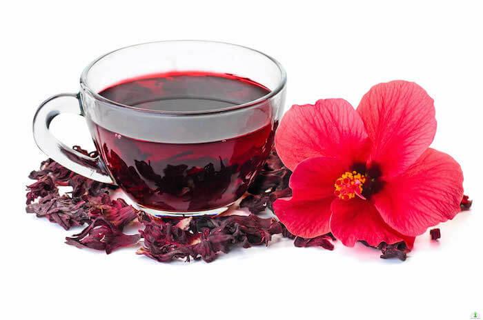 Čaj od hibiskusa u šolji pored crvenog cveta